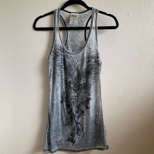 Vocal grey tank with crystals #100